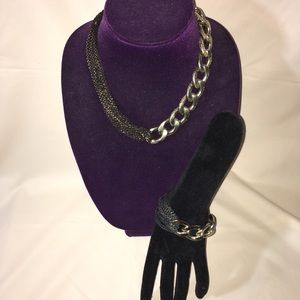 Statement Chunky Chain Necklace and Bracelet Set